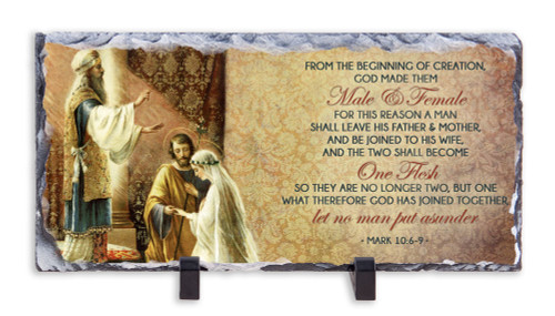 Wedding of Joseph & Mary with Scripture Horizontal Slate Tile