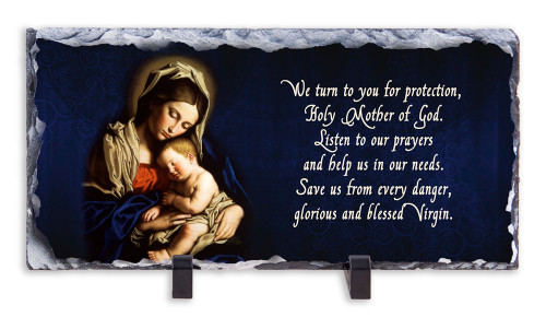 Madonna and Her Child Prayer Horizontal Slate Tile