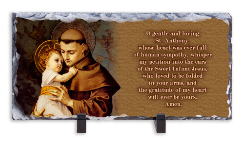 St. Anthony with Jesus Prayer Horizontal Slate Tile