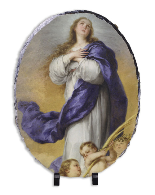 Immaculate Conception Oval Slate Tile