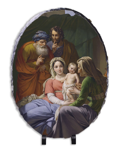 Holy Family with Grandparents Joachim and Anne Oval Slate Tile