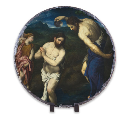 Baptism of Christ Round Slate Tile