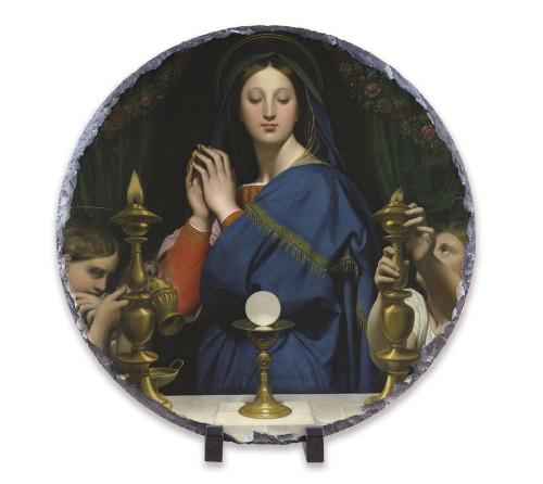 Madonna of the Host Round Slate Tile