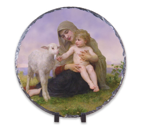Madonna, Child, and Lamb Round Slate Tile