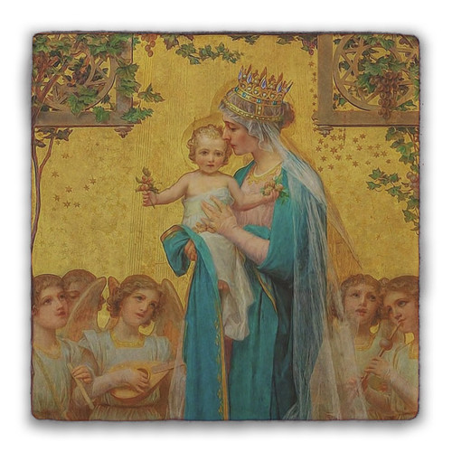 Madonna and Child by Enric M. Vidal Square Tumbled Stone Tile