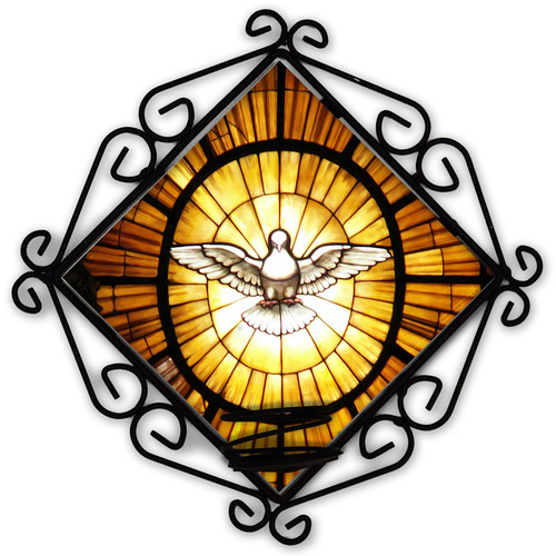 Stained Glass Dove Votive Candle Holder
