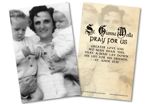 St. Gianna Molla (Black & White) Holy Card
