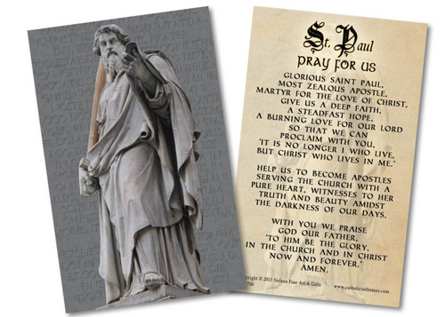St. Paul Statue Holy Card