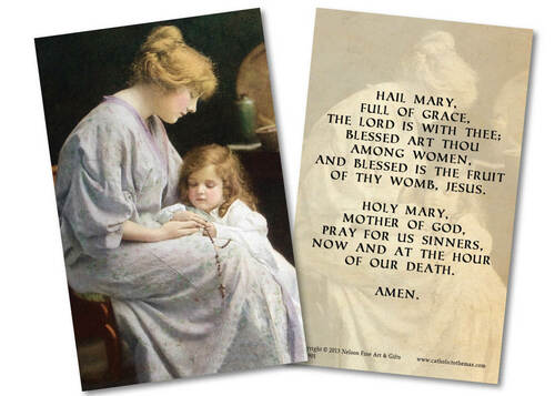 My Rosary Hail Mary Holy Card