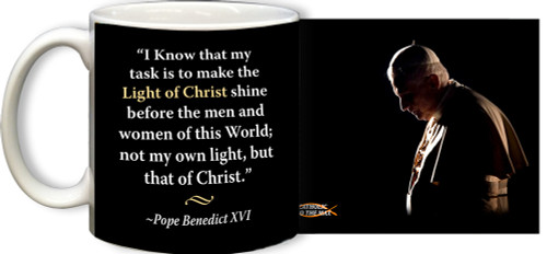 Pope Benedict XVI in Prayer with Quote Mug