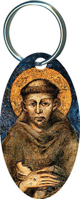 St. Francis by Cimabue Oval Keychain