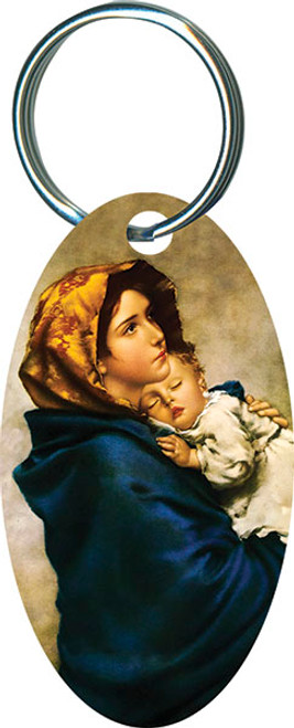 Madonna of the Streets Oval Keychain