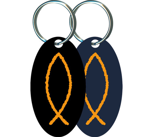 Ichthus Oval Keychain