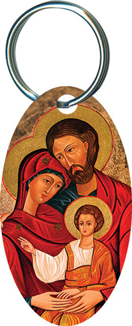 Holy Family Icon Oval Keychain