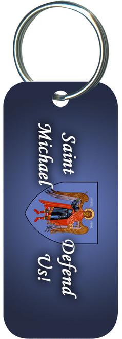 St. Michael Defend Us Blue Rectangle Keychain