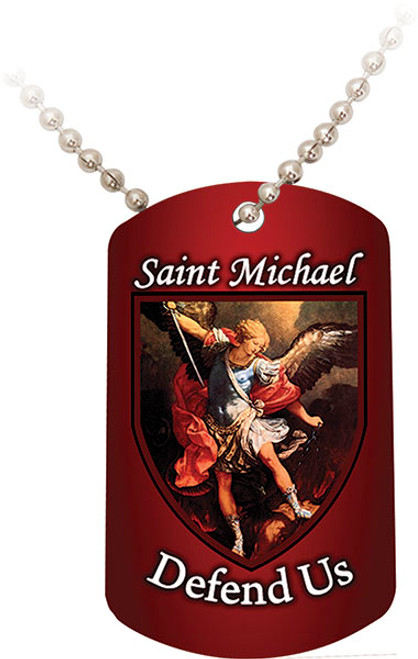 St. Michael the Archangel Red Dog Tag