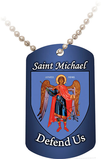 St. Michael Defend Us Blue Dog Tag