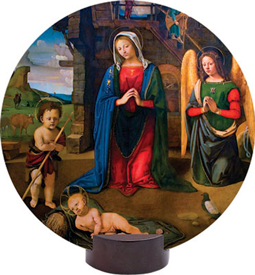 Nativity with Kneeling Angel Round Desk Plaque