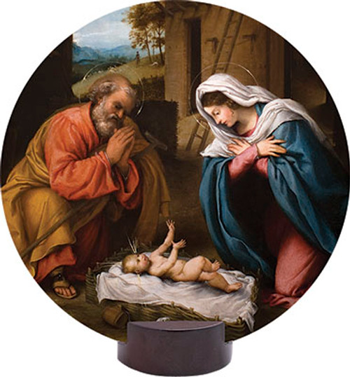 Nativity with Reaching Jesus Round Desk Plaque