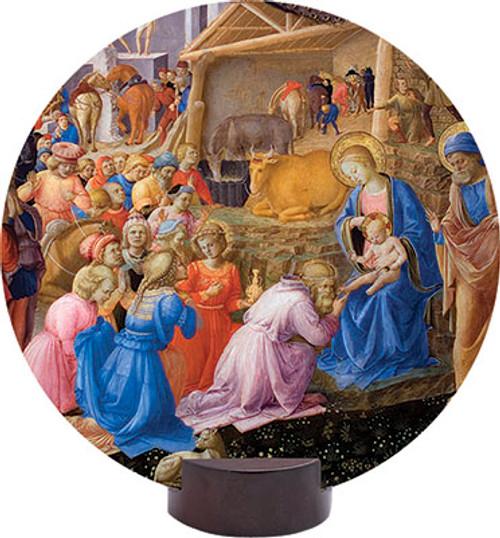 Adoration of the Magi Detail Round Desk Plaque