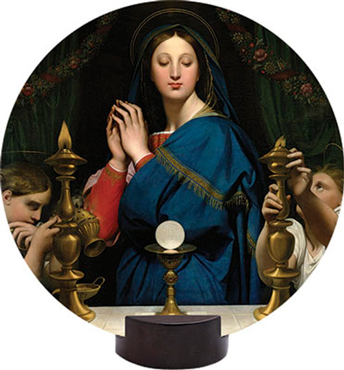 Madonna of the Host Round Desk Plaque