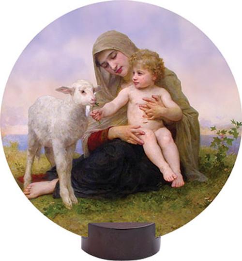 Madonna, Child, and Lamb Round Desk Plaque