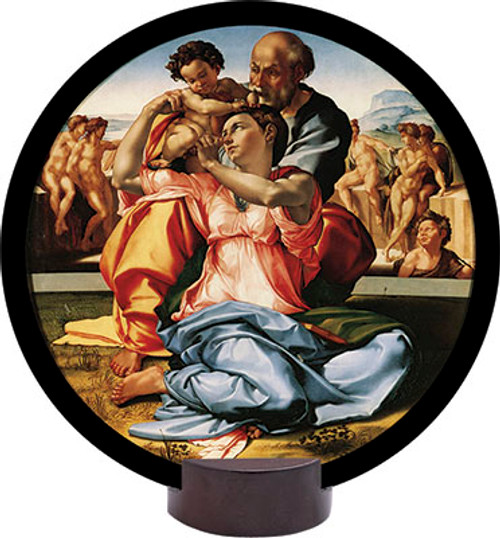 Holy Family by Michelangelo Round Desk Plaque
