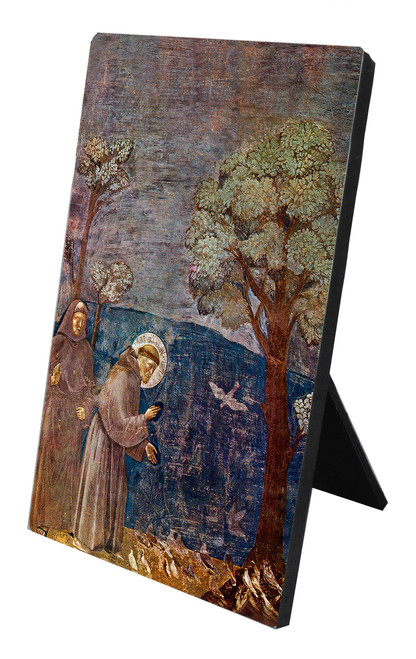 St. Francis with Birds Vertical Desk Plaque
