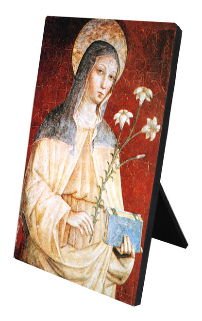 St. Clare (Red) Vertical Desk Plaque