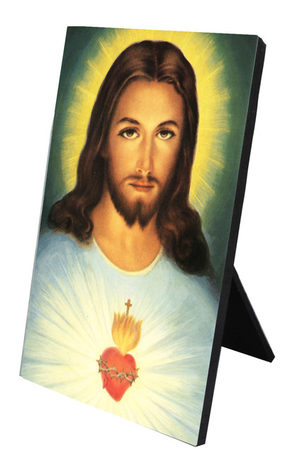 Traditional Sacred Heart Vertical Desk Plaque