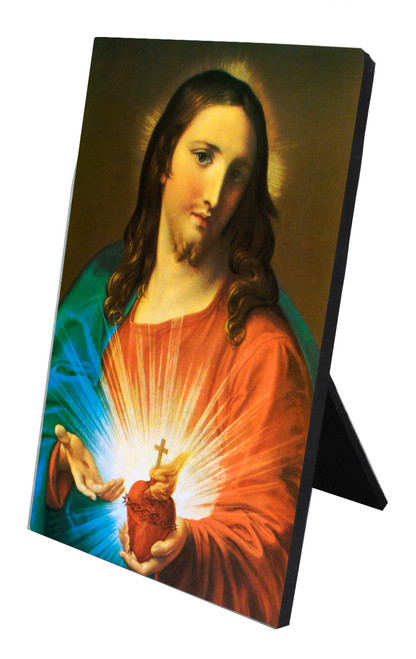 Sacred Heart Holding Heart Vertical Desk Plaque