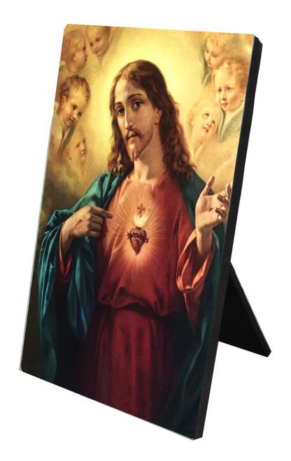 Sacred Heart of Jesus Vertical Desk Plaque