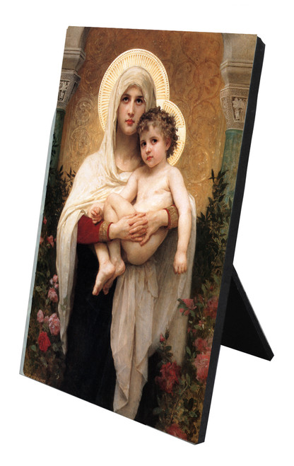 Madonna of the Roses Vertical Desk Plaque