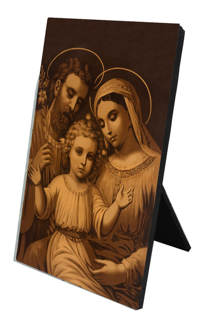 Sepia Holy Family Vertical Desk Plaque