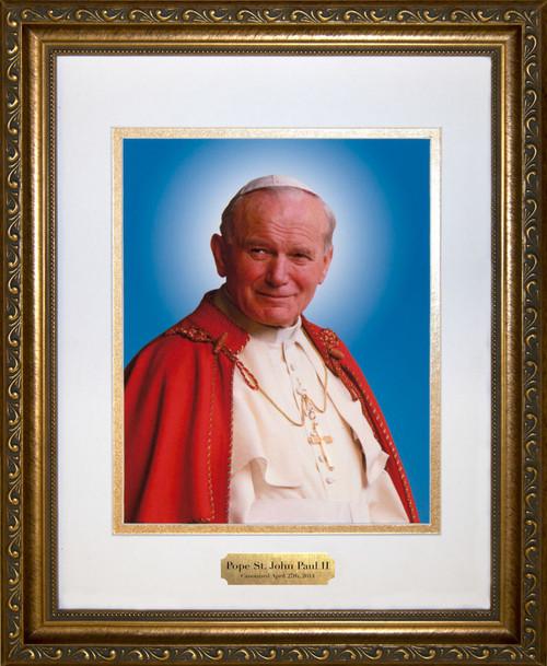 Pope John Paul II Sainthood Canonization Portrait Matted Framed Art with Plate