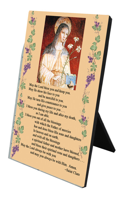 St. Clare's Blessing Vertical Desk Plaque