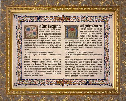Latin-English Hail Holy Queen Gold Framed Art