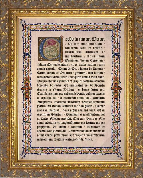 Latin Nicene Creed Gold Framed Art