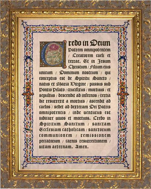 Latin Apostles Creed Gold Framed Art