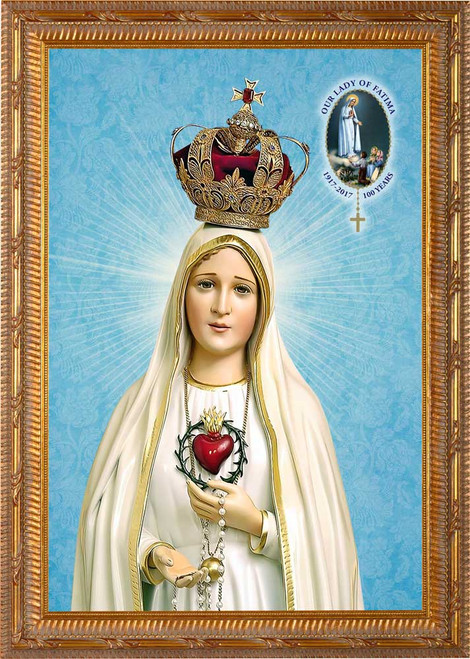 Fatima 100 Year Anniversary - Ornate Gold Framed Canvas