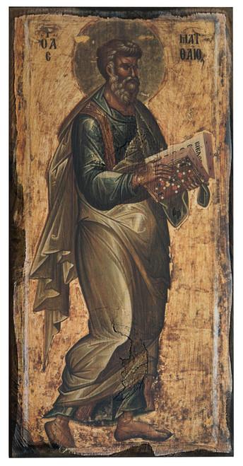 The Apostle Matthew Rustic Wood Russian Icon Plaque
