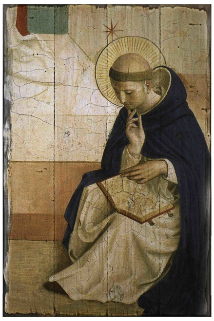 St. Dominic de Guzman Rustic Wood Plaque