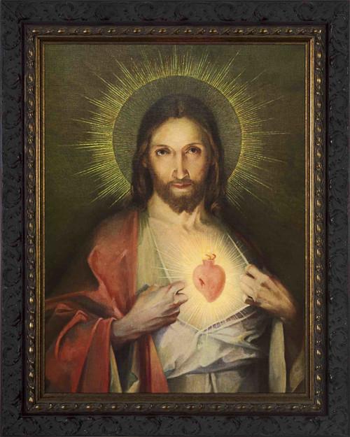 Polish Sacred Heart Framed Canvas