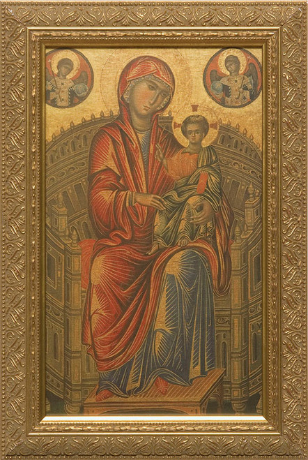 Madonna and Child on a Curved Throne Framed Art