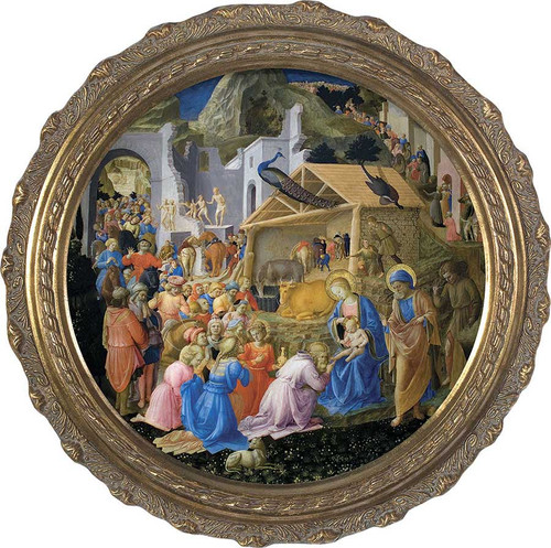 Adoration of the Magi Matted - Gold Framed Art