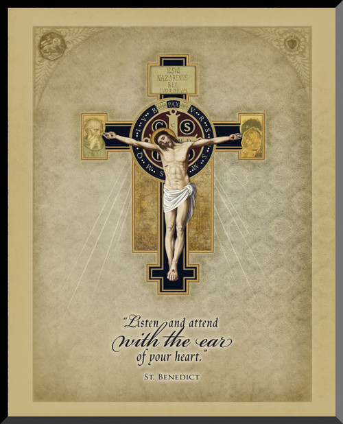 Benedictine Cross Graphic Wall Plaque