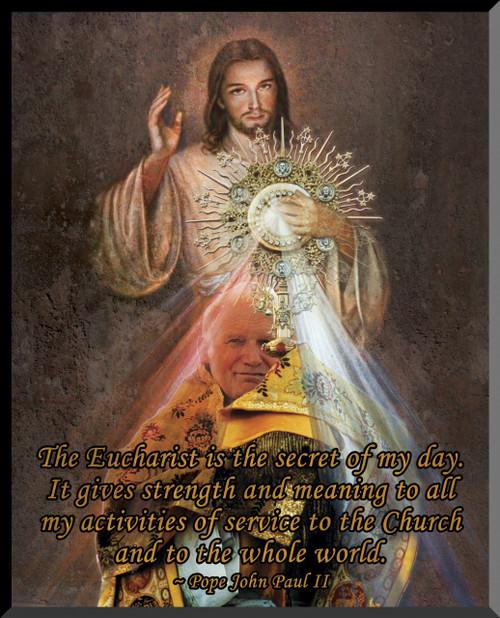 JPII Eucharist/Divine Mercy Graphic Wall Plaque
