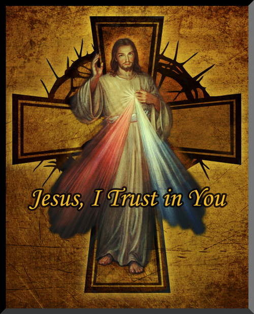 Divine Mercy Cross Graphic Wall Plaque
