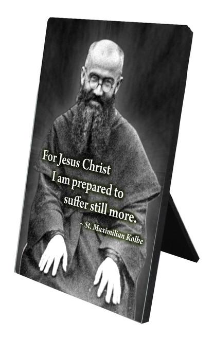 St. Maximilian Kolbe Vertical Desk Plaque