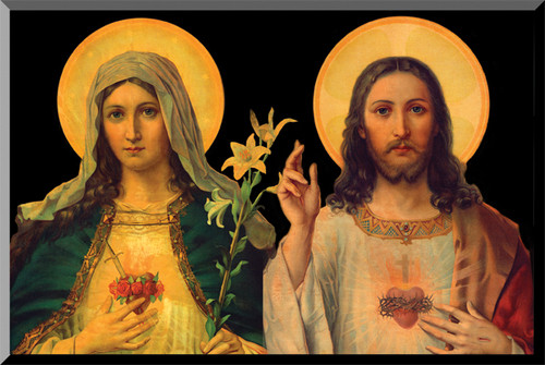 Antique Sacred and Immaculate Hearts